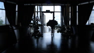 Panoramic view of silhouettes of aristocratic room decorated Stock Footage