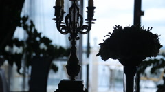 Close up view of silhouettes of decorated aristocratic room Stock Footage
