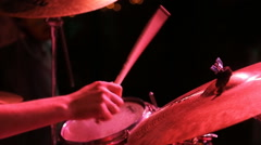 Close up view of musician playing drum and buss Stock Footage