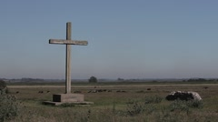 Cross at St Benet's Abbey Stock Footage