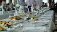 Close up view of served banquet table prepared for celebration Stock Footage