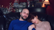 4k Authentic Shot of a Couple Sitting on Couch Stock Footage