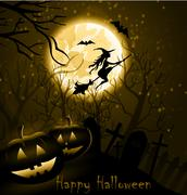 Halloween background of Witch on the full moon Stock Illustration