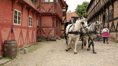 Two horse carriages passes by camera which follows the turn of the last wagon Stock Footage