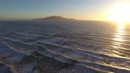 Aerial view of Kapiti Island and Kapiti coastline sunset in New Zealand Stock Footage