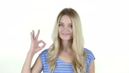 Woman Showing Ok Sign, White Background Stock Footage