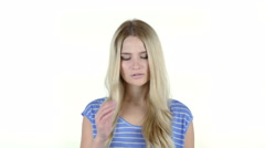 Young woman with headache, Frustration, Tension, Depressed, White Background Stock Footage