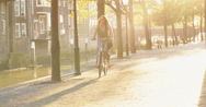 Woman on a Bicycle Stock Footage