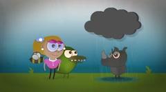 CI000044 Cartoon Characters grumpy Rhino Stock Footage