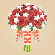 Wedding bouquet of red roses Stock Illustration