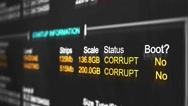 CI000083-  Computer Bootup Menu - RAID corrupt Stock Footage