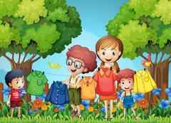 Children doing laundry in the garden Stock Illustration
