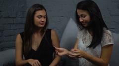 Girls choose perfume Stock Footage