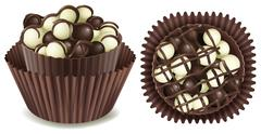 Dark and white chocolate in cup Stock Illustration
