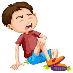 Boy hurting from accident Stock Illustration