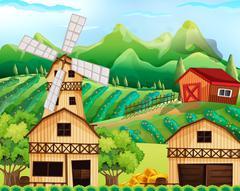 Farm scene with barn and windmill Stock Illustration