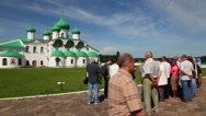 Tourists in Holy Trinity Alexander Svirsky male Monastery in Russia Stock Footage