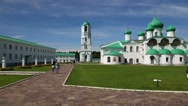 People at the Holy Trinity Alexander Svirsky male Monastery in Russia Stock Footage