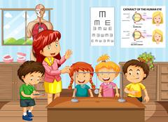 Science teacher and students in classroom Stock Illustration