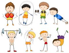 People doing different types of sports Stock Illustration