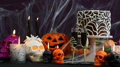 Spooky Halloween Party Table Stock Footage