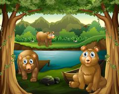 Three bears living by the river Piirros