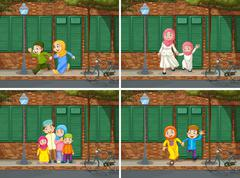 Muslim family in the neighborhood Stock Illustration