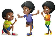 Three african american kids Stock Illustration