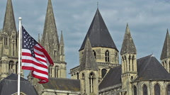 American Flag Waving in the Wind, Caen City in Normandy, Slow Motion Stock Footage