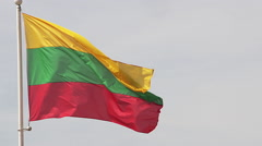 Lithuanian Flag Waving in the Wind, Slow Motion Stock Footage