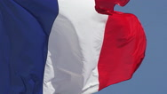 French Flag Waving in the Wind, Caen City in Normandy, Slow Motion Stock Footage