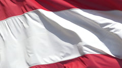 Austrian Flag Waving in the Wind, Slow Motion Stock Footage