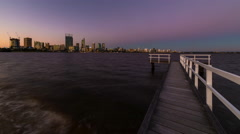 Time Lapse - Dusk at Perth City, Western Australia. Stock Footage