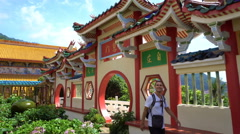Caucasian man visiting Chinese temple Stock Footage