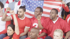 4K Male friends in stadium sports crowd, watching game & cheering on their team Stock Footage
