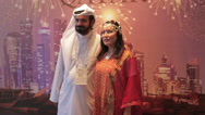 Arab man and woman in traditional dress Stock Footage