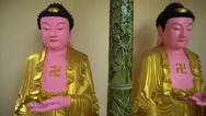 Panorama of Buddha statue gallery Stock Footage