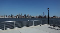 Manhattan Skyline On A Clear Day From New Jersey Stock Footage