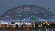 Modern attractive glass pavilion with colorful fountains Stock Footage