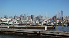 NYC Skyline Harbor View From New Jersey With Boats Stock Footage