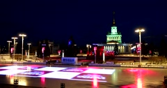 The largest skating rink in Russia on VDNH, stunning light installations Stock Footage