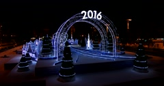 "Burn bright shimmer of blue light decorations ""Inspiration 2016"" Stock Footage"