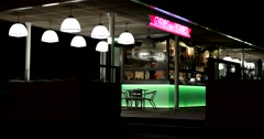 Empty street cafe, illuminations, cold, deserted Stock Footage