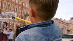 Concept creativity little boy soap bubbles Stock Footage