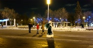 Santa Claus with gifts bag on the area of ENEA, illumination Stock Footage