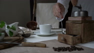 Rustic still life. preparing coffee. woman's hand falls asleep ground coffee Stock Footage