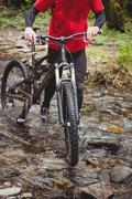 Low section of biker walking with bicycle in stream at forest Stock Photos