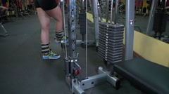 Girl sports in gym Stock Footage