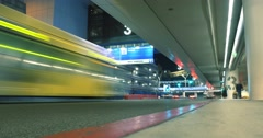 Busy shuttle bus traffic at Terminal 3 in LAX airport at night. 4K UHD Timelapse Stock Footage
