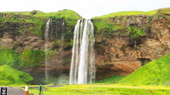 Beautiful Seljalandsfoss waterfalls in the South Region of Iceland Stock Footage